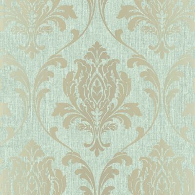 Highgrove Damask Duplex Wallpaper Duck Egg / Gold Rasch 274973