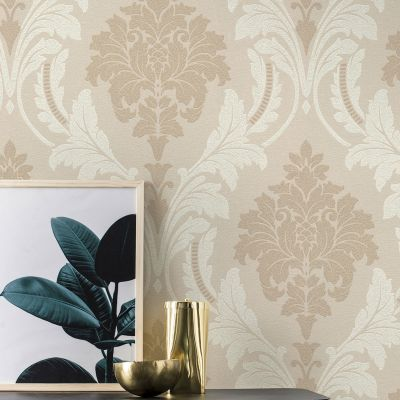 Glam Shimmering Damask Taupe Rasch 541618