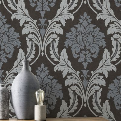 Glam Shimmering Damask Charcoal-Silver Rasch 541663