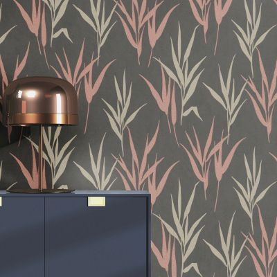 Glam Shimmering Leaves Wallpaper Charcoal-Rose Gold Rasch 541946