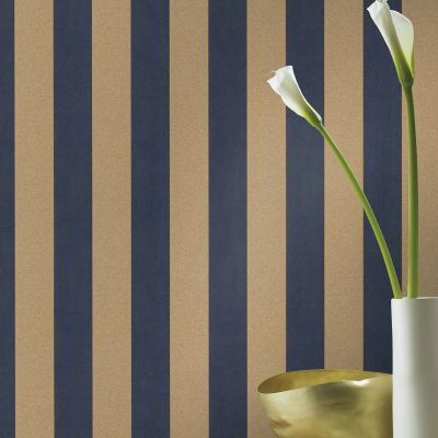 Rasch Glam Shimmering Stripe Wallpaper Navy and Antique Gold 542356