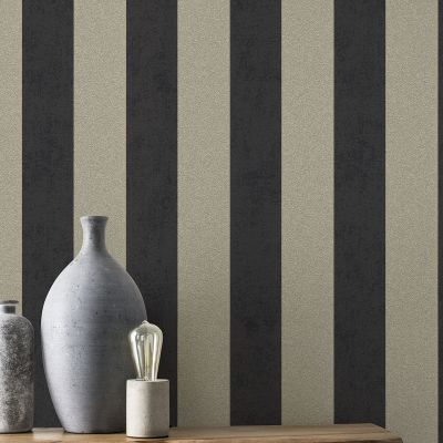 Rasch Glam Shimmering Stripe Wallpaper Charcoal and Antique Gold 542363