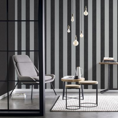 Rasch Glam Shimmering Stripe Wallpaper Charcoal and Silver 542370