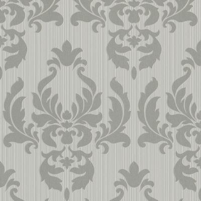 Sightseeing Damask Wallpaper Grey / Silver Rasch 433029
