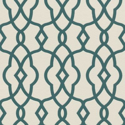 Freundin II Geo Trellis Wallpaper White / Teal Rasch 442830
