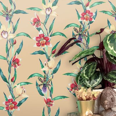 Orchis in Sweet Umber Wallpaper Badgers of Bohemia OW0015