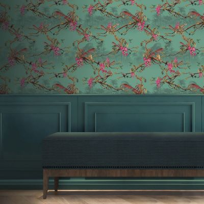 Ted's Enchanted Collection Hibiscus Wallpaper - Teal, Ted Baker 12470