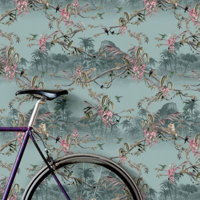Ted's Enchanted Collection Hibiscus Wallpaper-Pale Blue, Ted Baker 12471