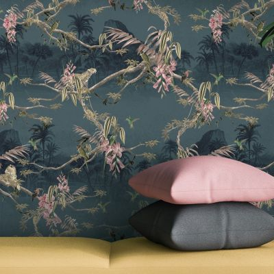 Ted Baker Ted's Enchanted Collection Hibiscus Wallpaper -Navy Blue -12473