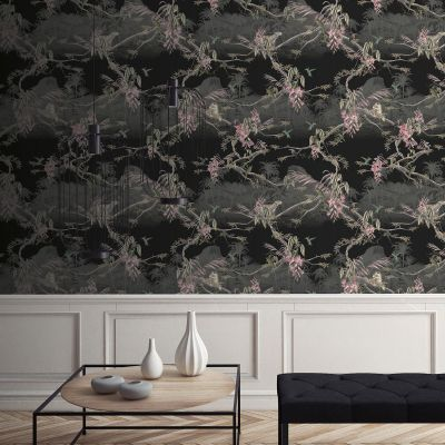 Ted's Enchanted Collection Hibiscus Wallpaper-Black, Ted Baker 12476