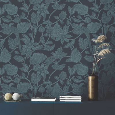 Ted's Enchanted Collection Benga Wallpaper Navy, Ted Baker 12514