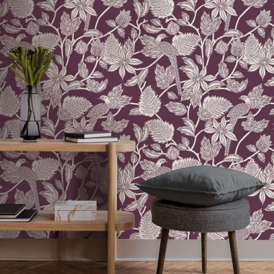 Ted's Enchanted Collection Benga Wallpaper Burgundy Ted Baker 12517