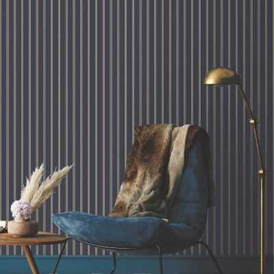 Ted's Enchanted Collection Suitcase Stripe Wallpaper Navy, Ted Baker 12492