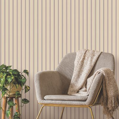 Ted's Enchanted Collection Suitcase Stripe Wallpaper Peach, Ted Baker 12493