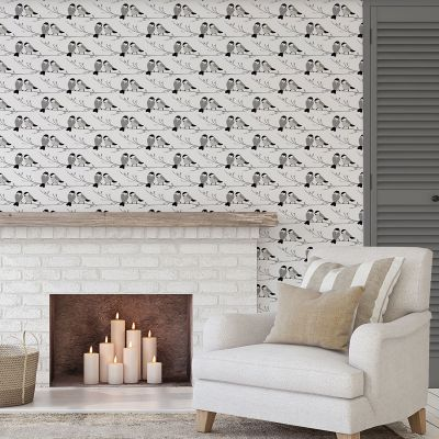 Willow Tit Wallpaper Grey Lorna Syson WIW