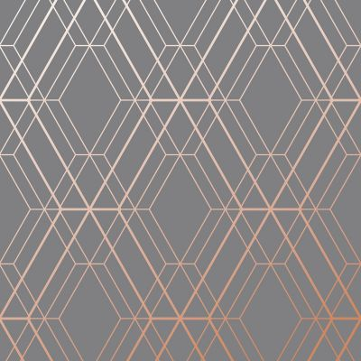 Charcoal Grey and Copper Diamond Geometric Wallpaper - Metro WOW002