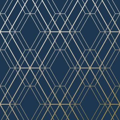 Metro Diamond Geometric Wallpaper - Navy Blue and Gold - WOW003