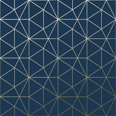 Metro Prism Geometric Triangle Wallpaper - Navy Blue and Gold - WOW008