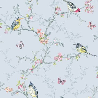 Phoebe Birds Wallpaper - Dove Grey - 98081 | Feature | Decor