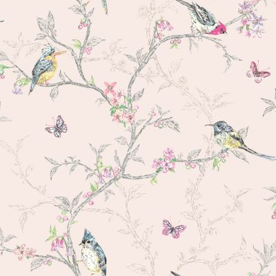 Phoebe Birds Wallpaper Blush Pink World of Wallpaper 50141