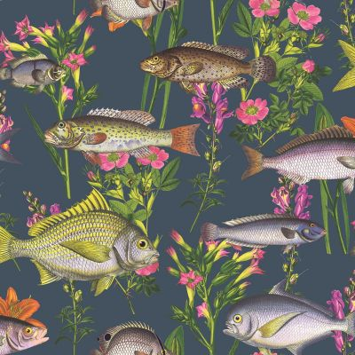 Lagoon Fish Wallpaper Midnight Blue World of Wallpaper 50150