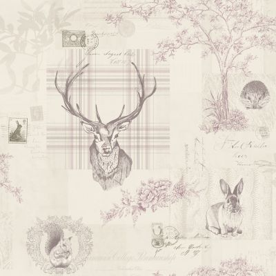 Richmond Highland Stag Wallpaper Heather and Dove Grey World of Wallpaper 50165