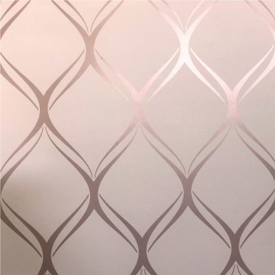 Clifton Wave Geometric Wallpaper Pink / Rose Gold WOW41962