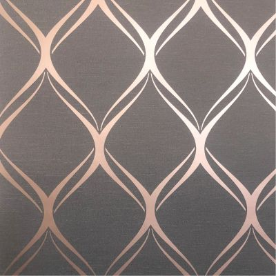 Clifton Wave Geometric Wallpaper Charcoal / Copper WOW41963