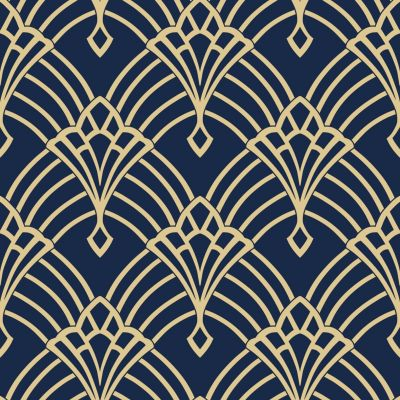 Waldorf Deco Wallpaper Navy / Gold World of Wallpaper 274447