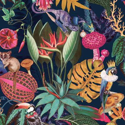 Navy Blue Wonderland Tropical Wallpaper Holden WOW035
