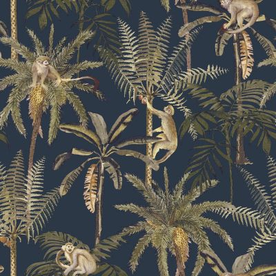 Amazonia Monkey Trees Jungle Wallpaper Navy Blue World of Wallpaper WOW038