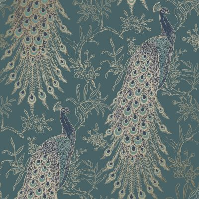 Peacock Wallpaper Emerald Green/Gold World of Wallpaper WOW040