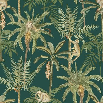Amazonia Monkey Trees Jungle Wallpaper Emerald Green World of Wallpaper WOW044