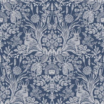 Harlen Woodland Damask Wallpaper Navy World of Wallpaper 50340
