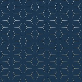 navy and gold metro illusion geometric wallpaper blue