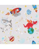 Over the Rainbow Space Animals Glow in the Dark Wallpaper Grey Holden 90920
