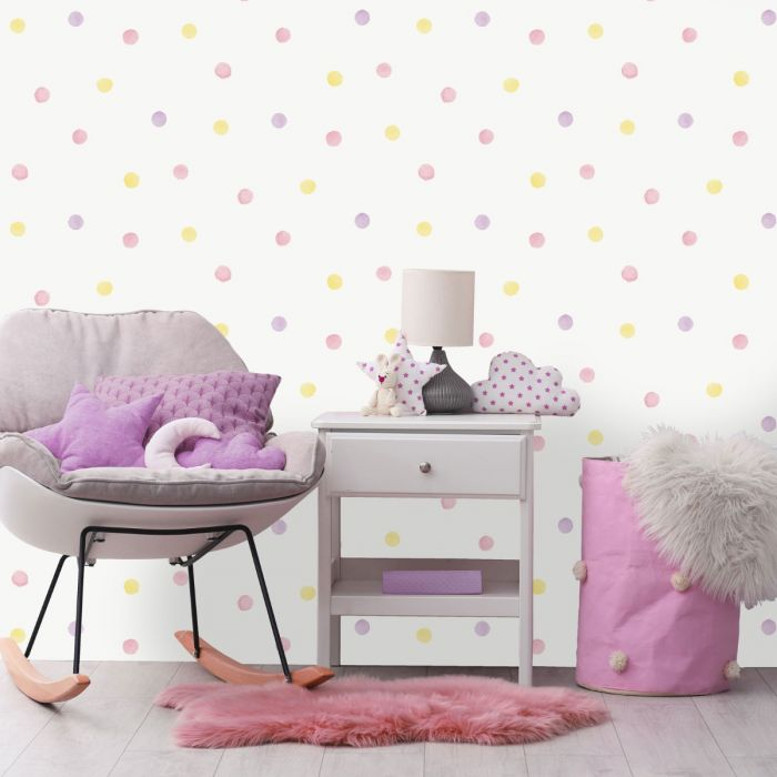 Over the Rainbow Watercolour Polka Dots Wallpaper Pink / Yellow Holden 91000