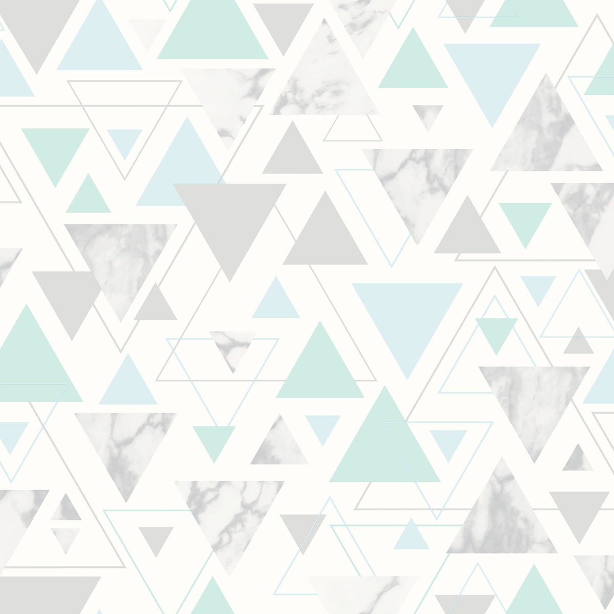 Chantilly Geometric Marble Triangle Wallpaper Teal Grey Debona 5015