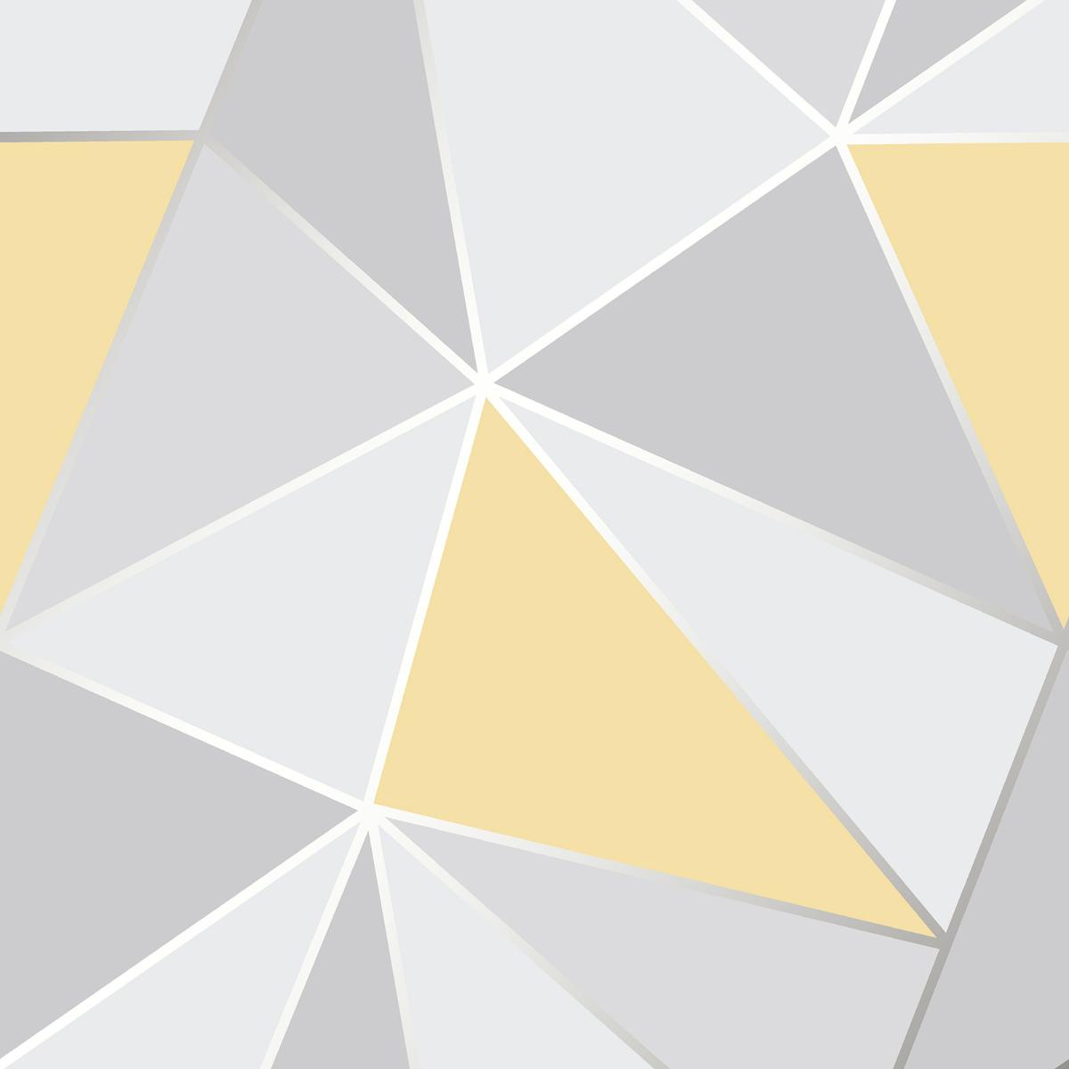 Apex Geometric Yellow And Grey Geo Wallpaper
