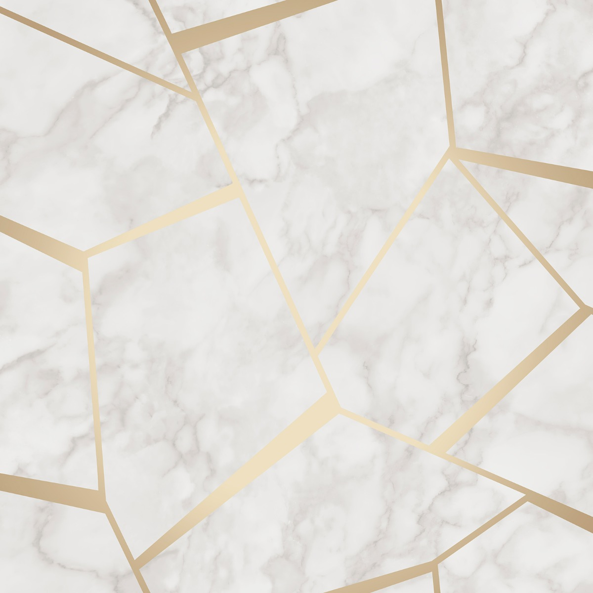 Fractal Geometric Marble Wallpaper Gold And White Fine Decor Fd42265