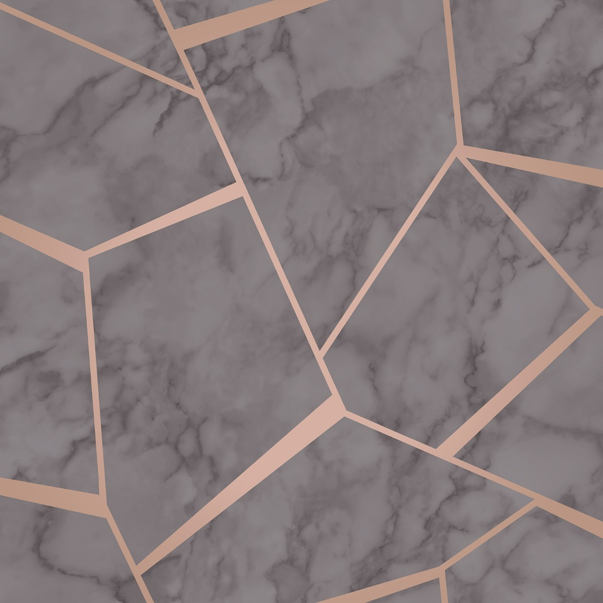 Fractal Geometric Marble Wallpaper Charcoal Grey And Copper Fine Decor Fd42266
