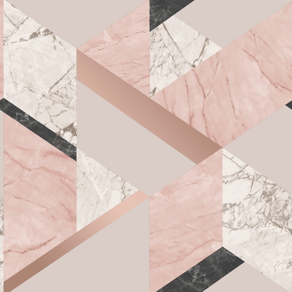 Marblesque Geometric Marble Wallpaper Blush Pink And Rose Gold Fine Decor Fd42303