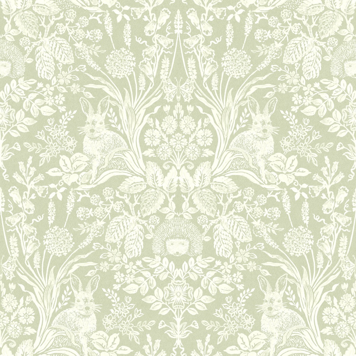 Harlen Woodland Damask Wallpaper Sage Green Holden 90162