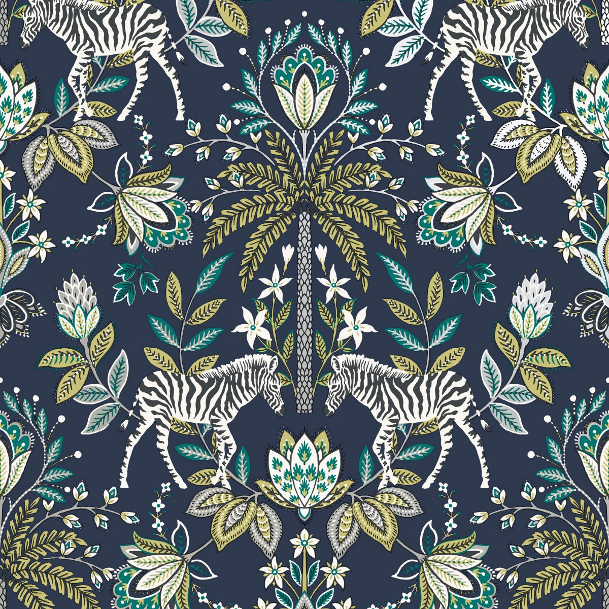 Holden Zebra Safari Wallpaper Floral Tree Metallic Navy Ochre Teal Charcoal