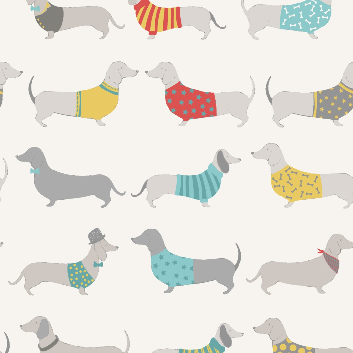 Catherine Lansfield Silly Sausage Dogs Wallpaper Multi Muriva 165531