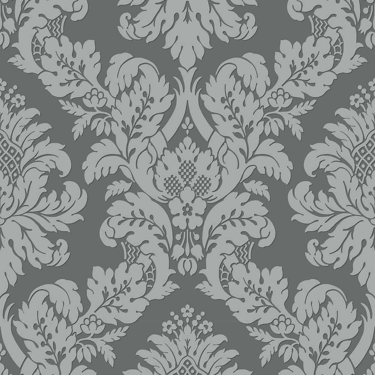 Glitter Damask Wallpaper Grey Silver Pear Tree Uk10435