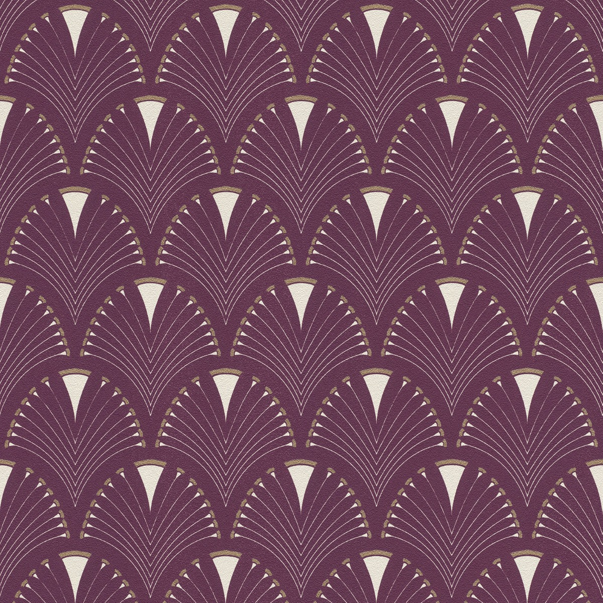 Modern Art Art Deco Fan Wallpaper Plum / Gold Rasch 433241