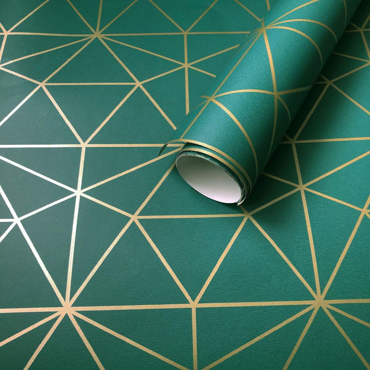 Metro Prism Geometric Triangle Wallpaper Emerald Green And Gold