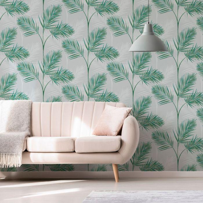 South Beach Palm Leaf Wallpaper Stone Grey Fine Decor FD42678