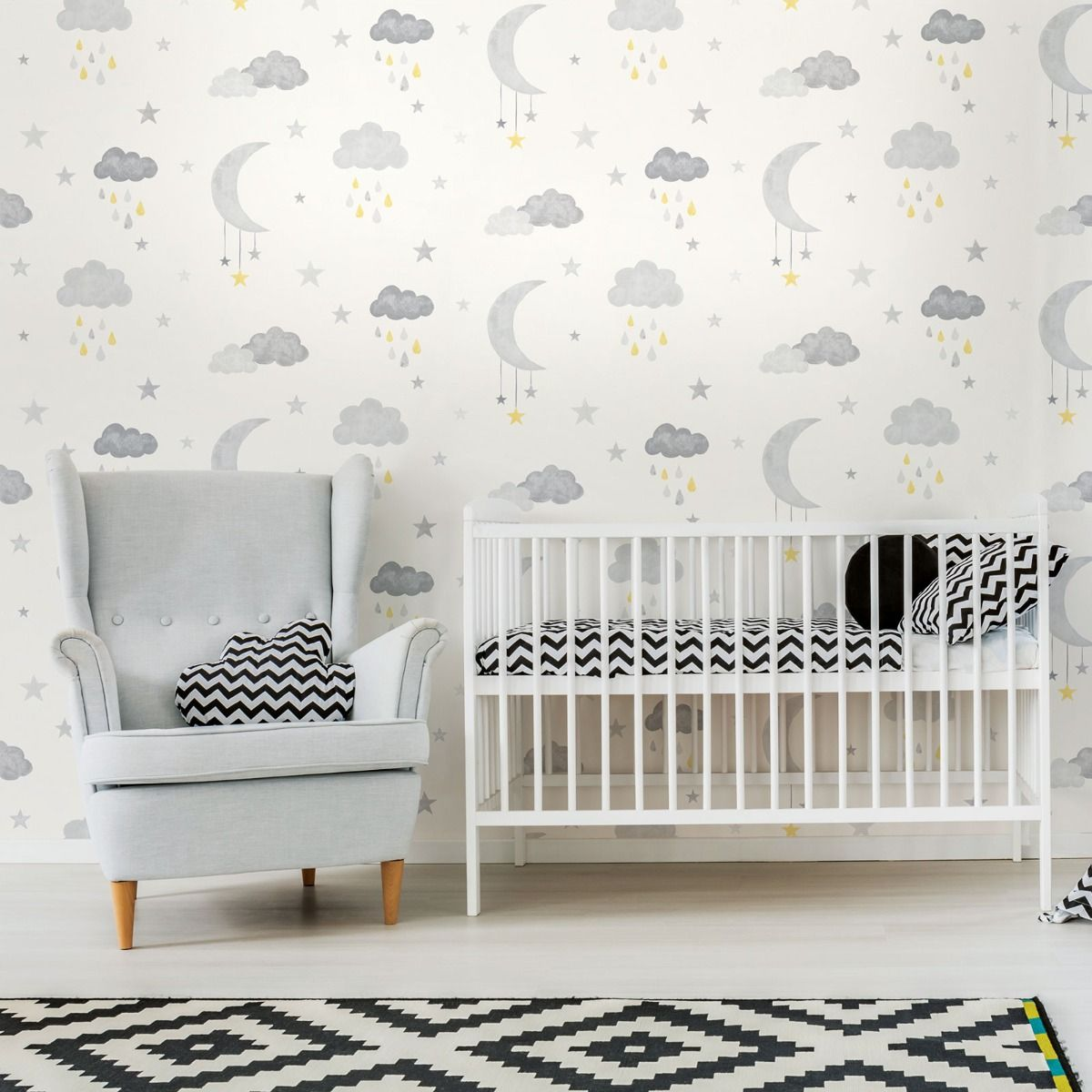 wallpaper clouds grey winter nursery